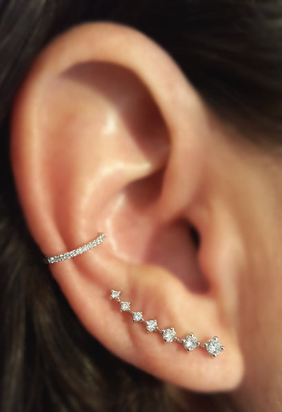 Seven Diamond Climber Earring - The EarStylist by Jo Nayor - 3