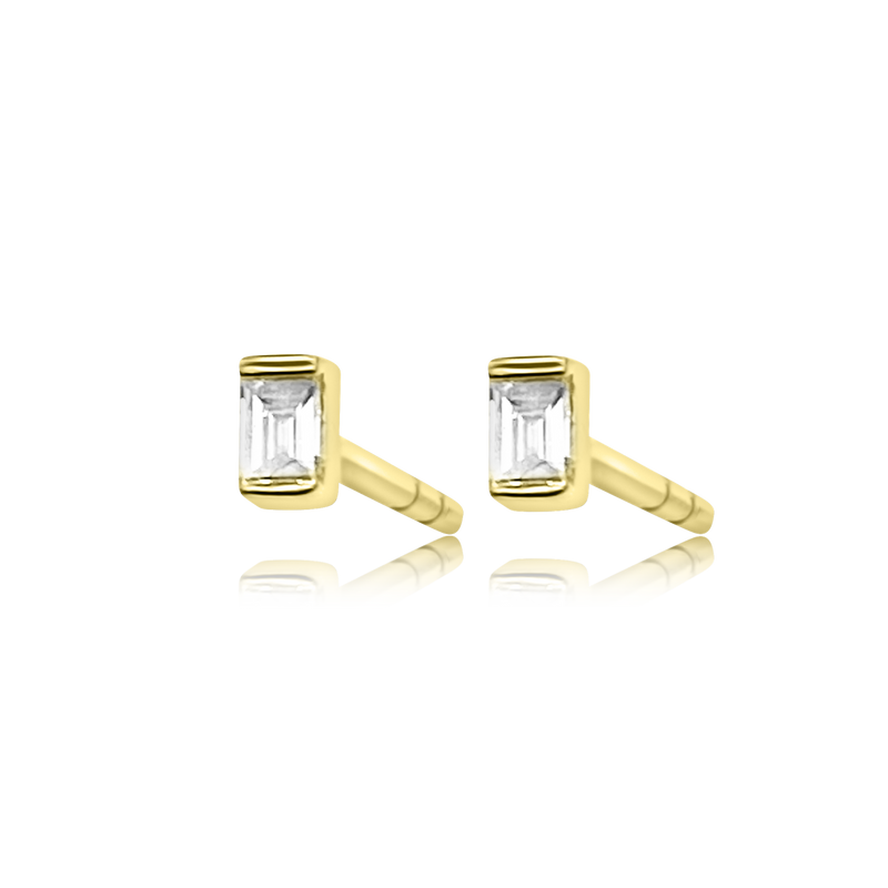 Single Baguette Stud - Designer Earrings - The EarStylist by Jo Nayor