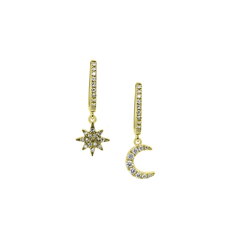Sunburst and Moon Huggie Duo - Designer Earrings - The EarStylist