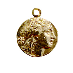 Small Roman Coin Charm Necklace - Designer Earrings - The EarStylist by Jo Nayor