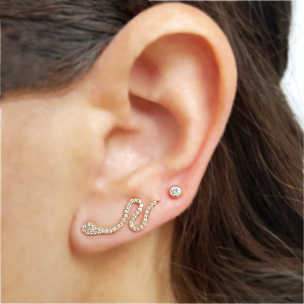 14K Gold & Diamond Snake Climber - Designer Earrings - The EarStylist by Jo Nayor
