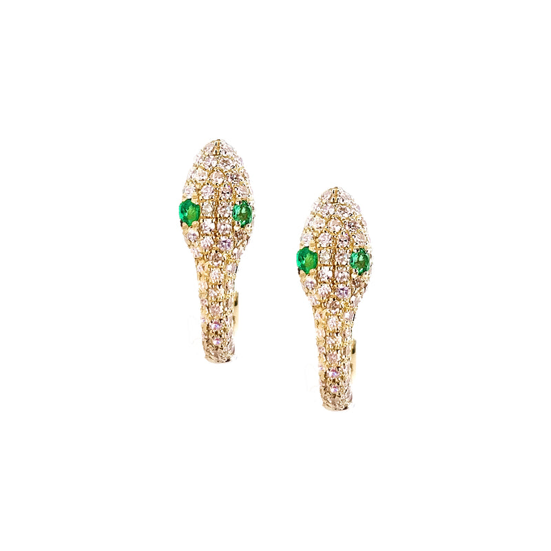 Diamond Serpent Hoop Earrings - Designer Earrings - The EarStylist by Jo Nayor