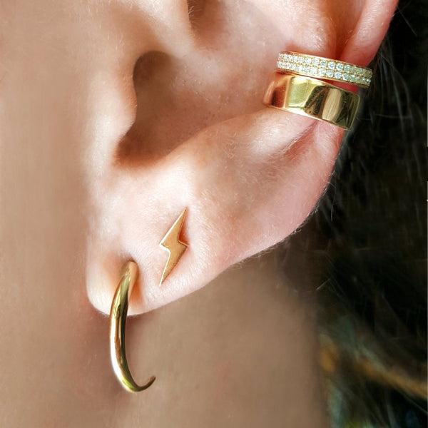 14K Gold Lightning Bolt Stud Earrings - The Ear Stylist by Jo Nayor