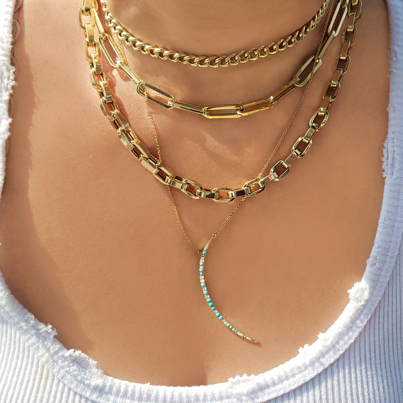 Diamond & Turquoise Crescent Moon Necklace - Designer Earrings - The EarStylist by Jo Nayor