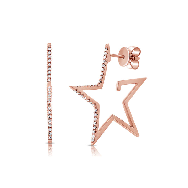 Superstar 14K Gold and Diamond Star Hoop Earrings - Designer Earrings - The EarStylist by Jo Nayor