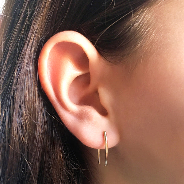 Solid 14K Gold Hook Fastened Talon Earring