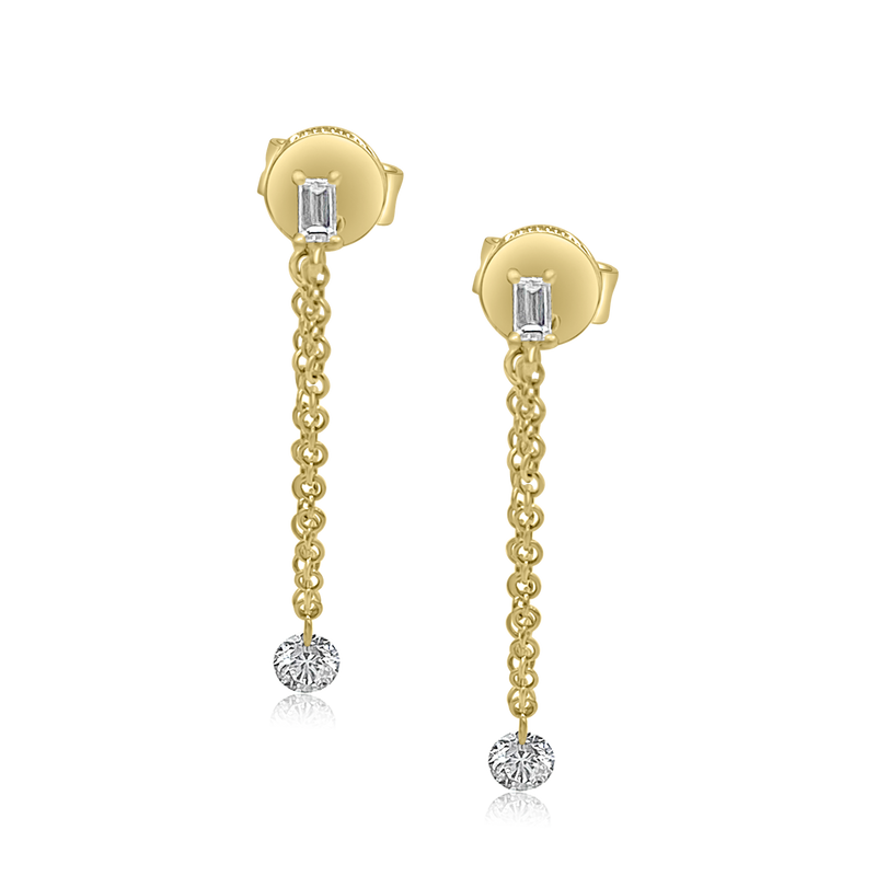 Tethered Baguette Stud with Illusion Drop - Earrings - Ear Stylist