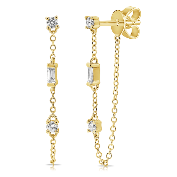 Tethered Baguette and Prong Set Diamond Earring - The Ear Stylist