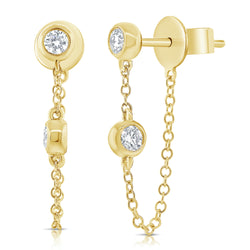 Tethered Bezel Set Diamond Earring - Designer Earrings - Ear Stylist