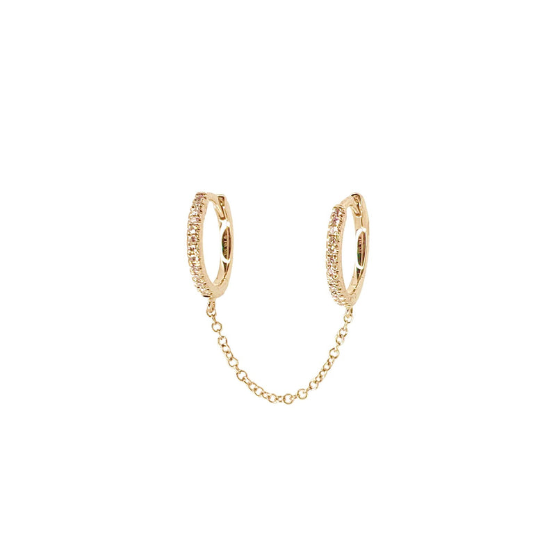 Diamond Chained Hoops - Designer Earrings - The EarStylist by Jo Nayor