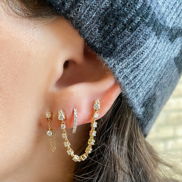 Diamond Draped Studs - Designer Earrings - Ear Stylist by Jo Nayor