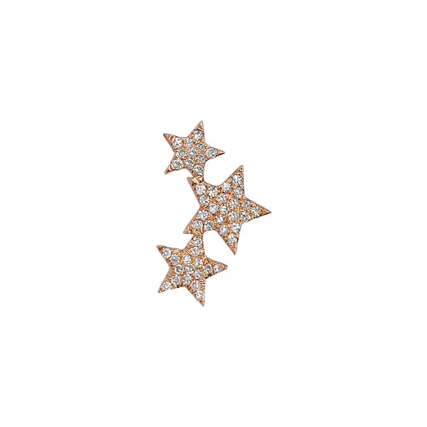 Three Star Diamond Cluster Post Earring in 14K Rose Gold