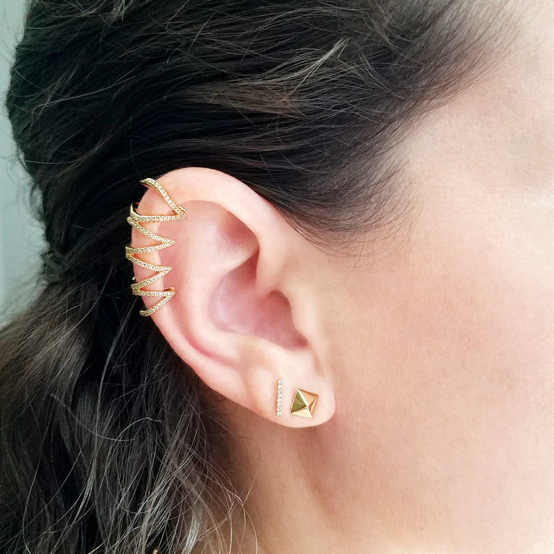Gold and Diamond Ear Topper - Designer Earrings - The EarStylist by Jo Nayor