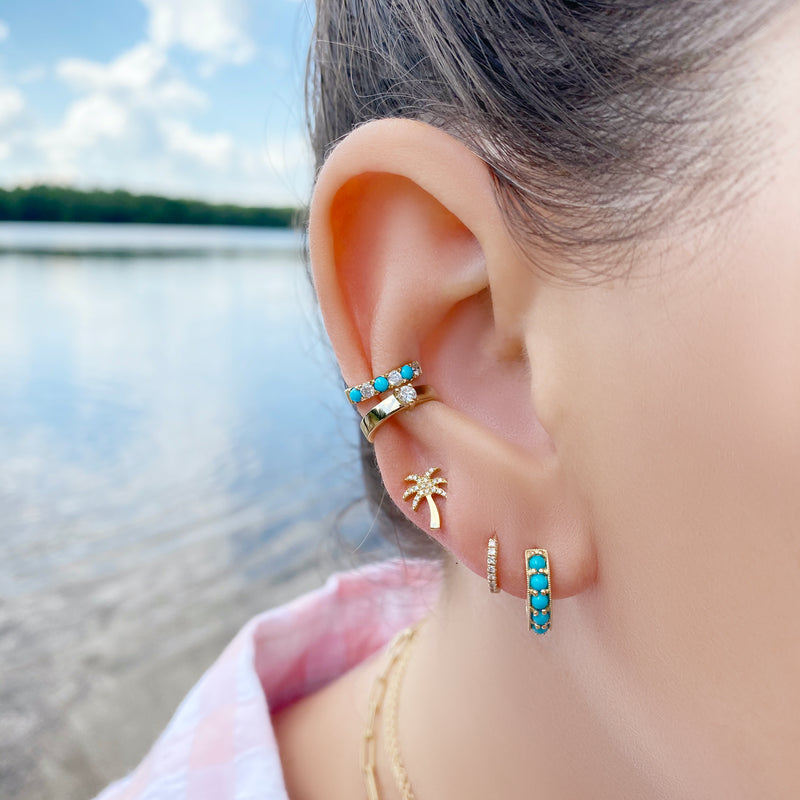 Turquoise Huggie Earrings - Designer Earrings - The EarStylist by Jo Nayor