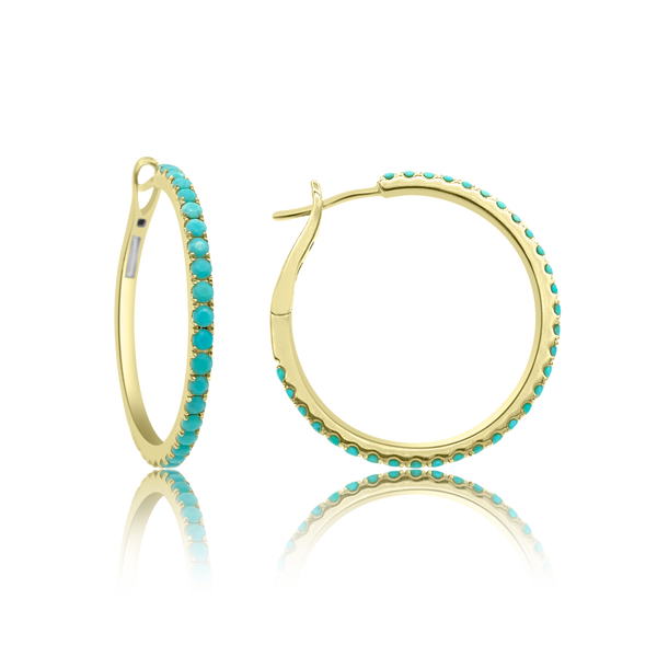 Classic 28MM Turquoise Hoop Earrings - The EarStylist by Jo Nayor