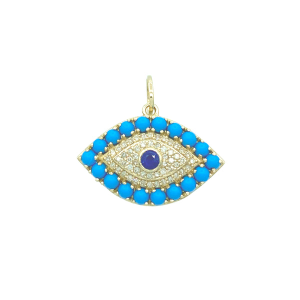 Turquoise Evil Eye Charm - Designer Earrings - The EarStylist by Jo Nayor