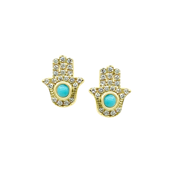 Diamond & Turquoise Hamsa Earring - Designer Earrings - The EarStylist