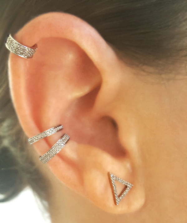 Single Full-Row Diamond & Gold Ear Cuff - Designer Earrings - The EarStylist by Jo Nayor