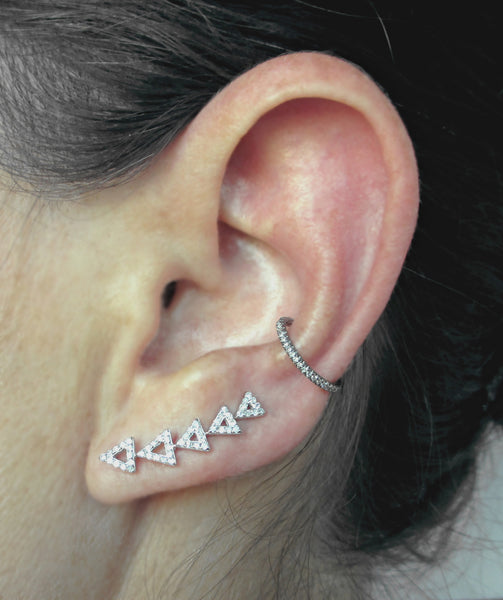 Gold and Diamond Open Triangle Climber Earring - The EarStylist by Jo Nayor - 3