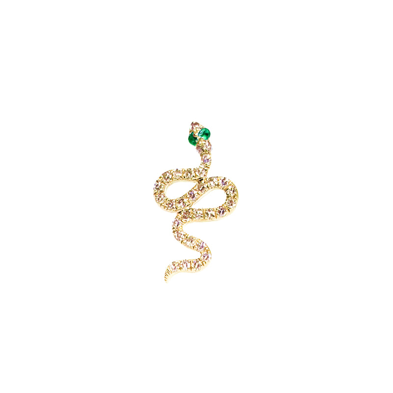 14K Gold & Diamond Snake Stud Earring - Designer Earrings - EarStylist