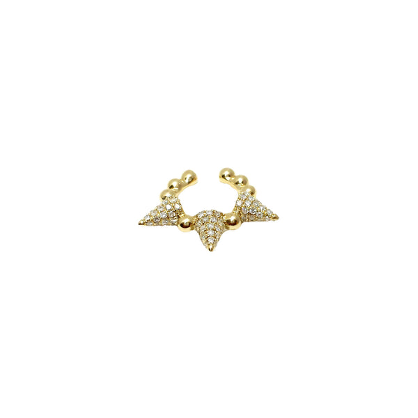 Spiked Diamond & Gold Ear Cuff - Designer Earrings - The EarStylist by Jo Nayor