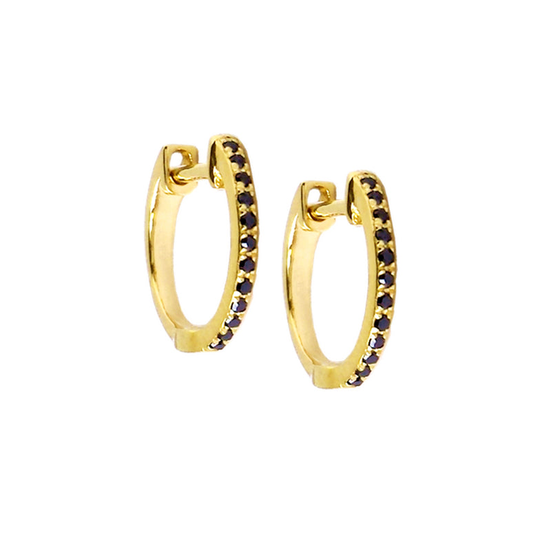 Small Black Diamond Hoop Earrings - The Ear Stylist by Jo Nayor