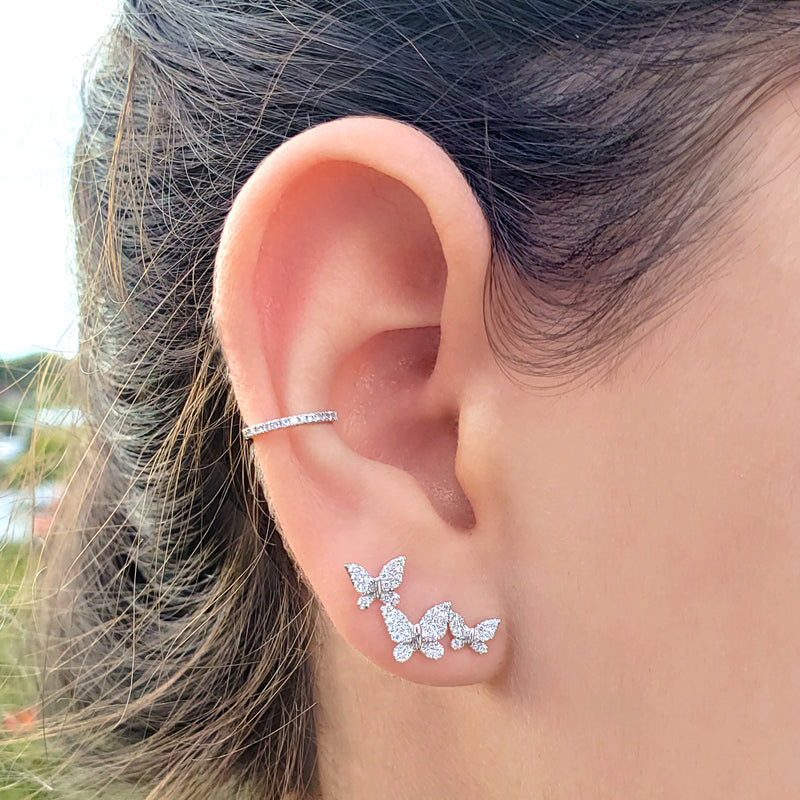 Diamond Butterfly Trio Post - Designer Earrings - The EarStylist by Jo Nayor