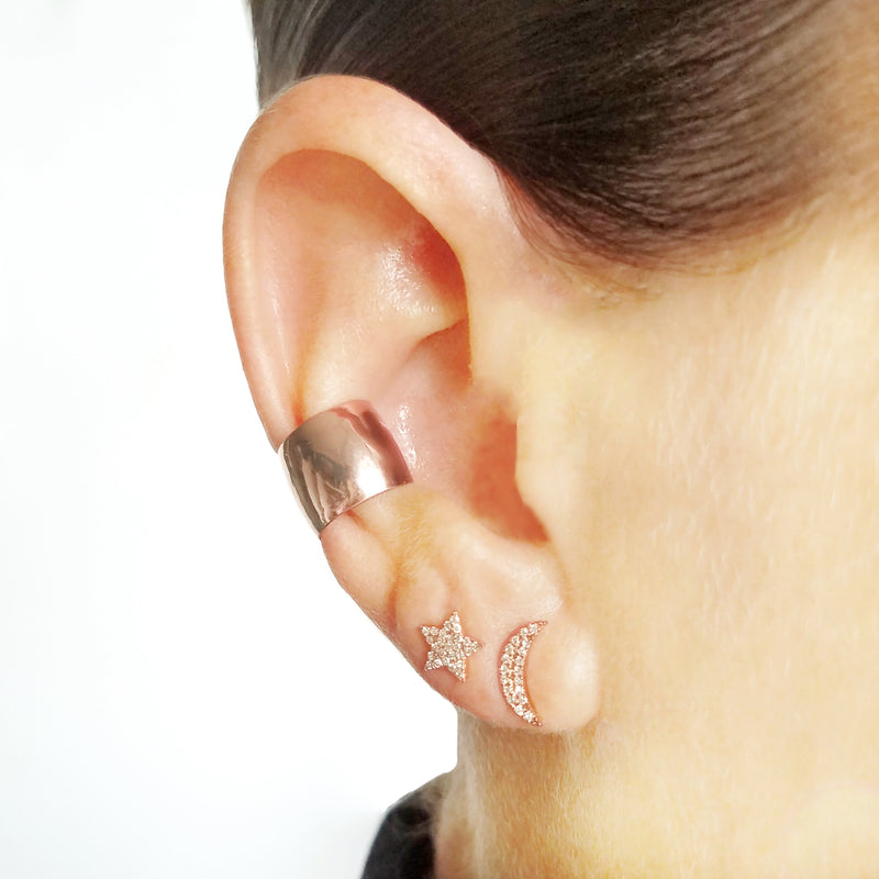 Extra Wide Solid Gold Ear Cuff - Designer Earrings - The EarStylist by Jo Nayor