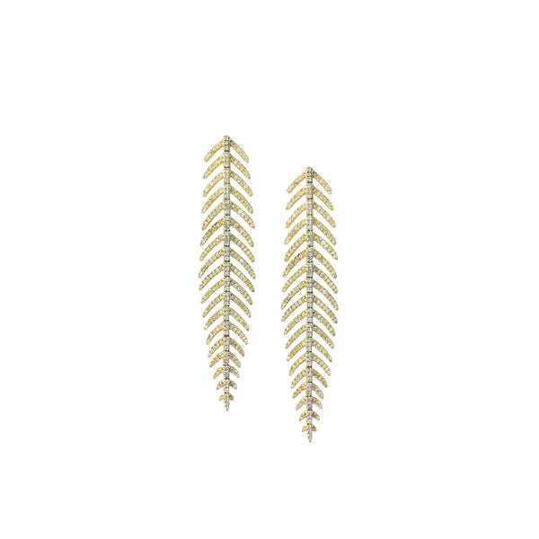 Diamond Feather Earrings in 14K Yellow Gold