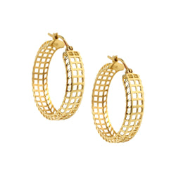 14K Gold Lattice Hoops - Designer Earrings - The EarStylist by Jo Nayor