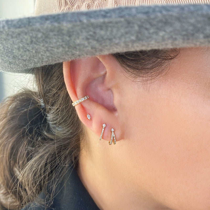 Double J Hook Diamond Earrings - Designer Earrings - The EarStylist