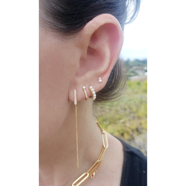 Diamond Bar Tethered Earrings - The Ear Stylist by Jo Nayor
