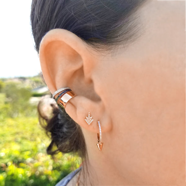 Diamond & 14K Gold Spike Hoop Earrings - Designer Earrings - The EarStylist by Jo Nayor