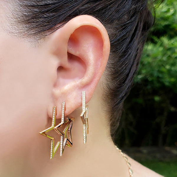 Superstar 14K Gold and Diamond Star Hoop Earrings - The Ear Stylist by Jo Nayor