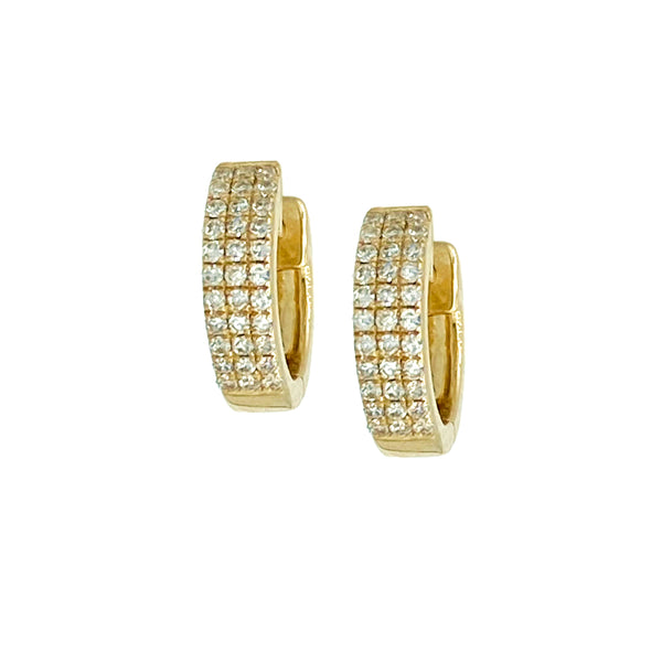 3 Row Diamond Huggie Earrings - Designer Earrings - The EarStylist by Jo Nayor