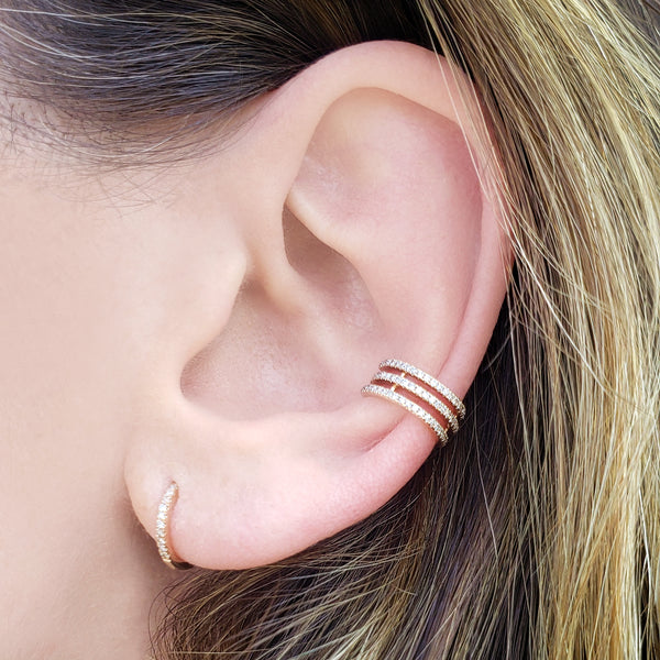 Three Row Diamond & Gold Ear Cuff - The Ear Stylist by Jo Nayor