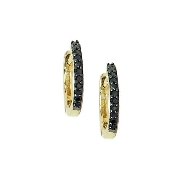 Black Diamond Mini Hoop Earrings - The Ear Stylist by Jo Nayor