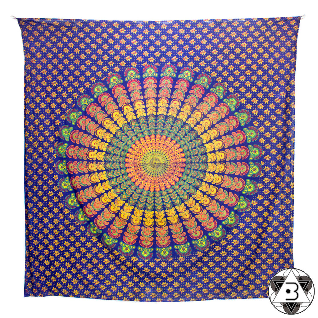Orange Peacock Mandala Throw