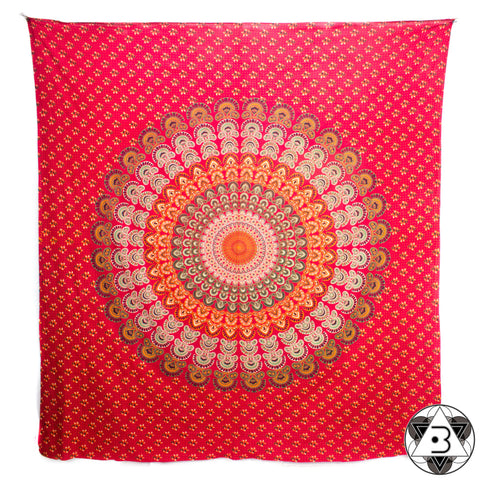 Red Peacock Throw