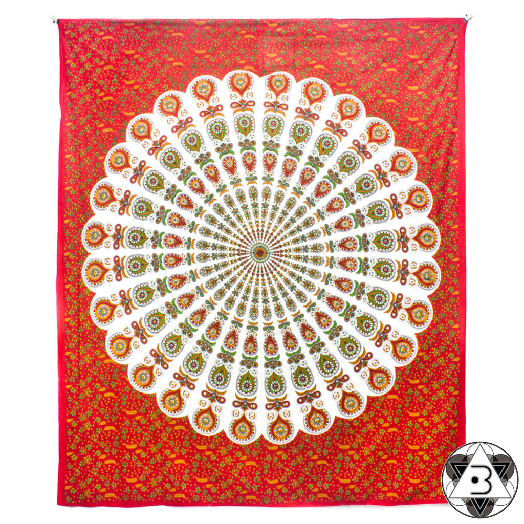 Red and White Peacock Mandala Throw