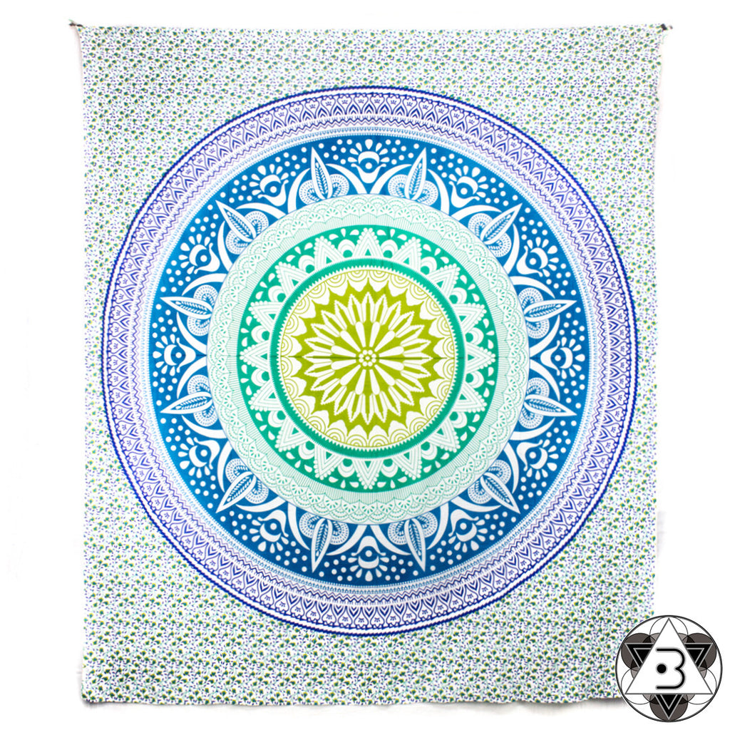 Blue Blooming Mandala Throw