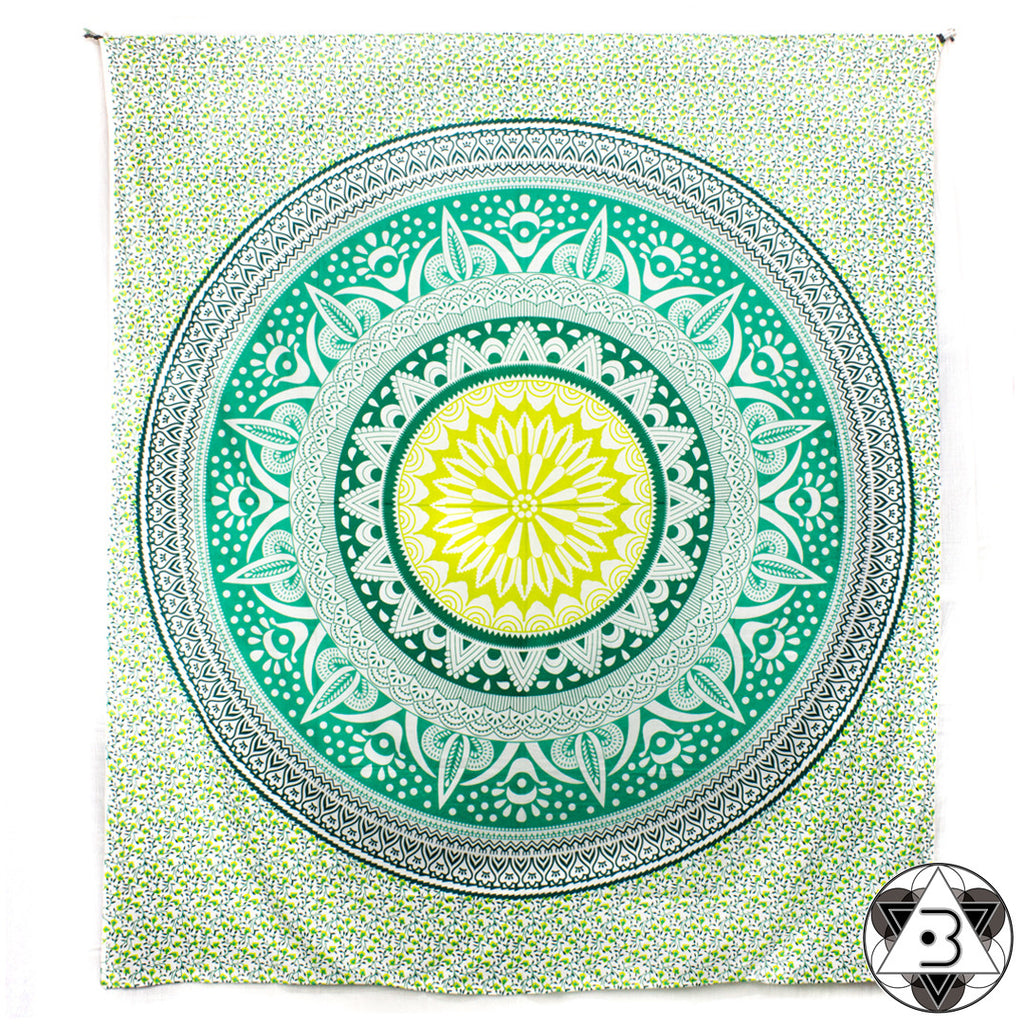 Green Blooming Mandala Throw