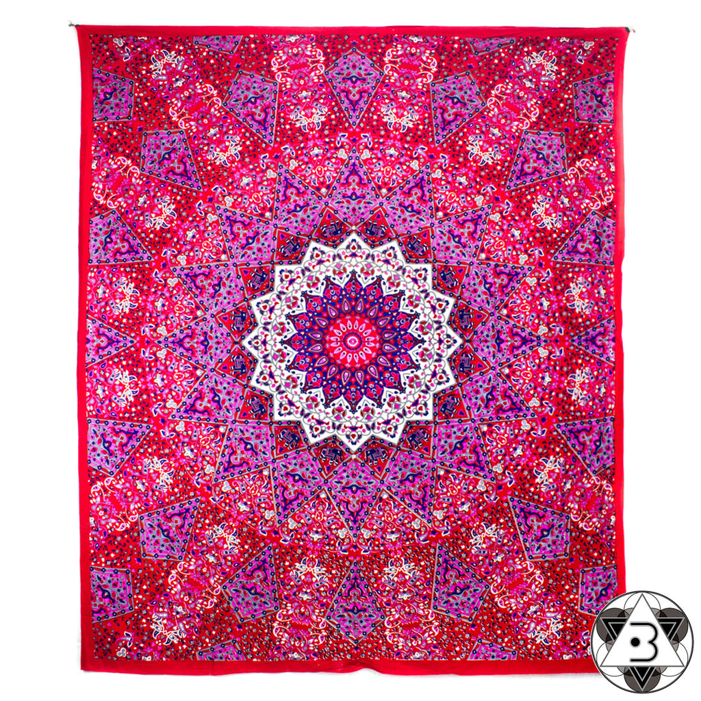 Red Kaleidoscope Mandala Throw