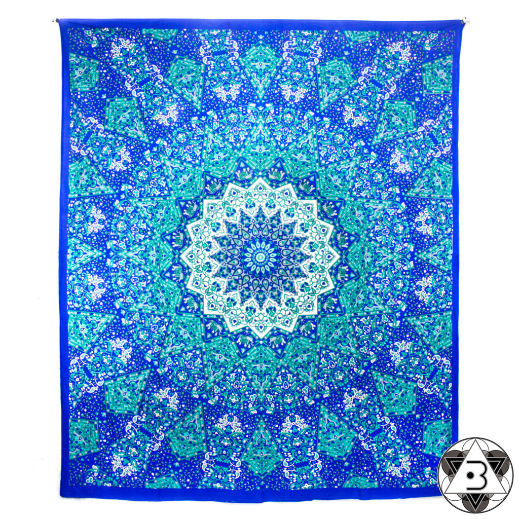 Blue Kaleidoscope Mandala Throw