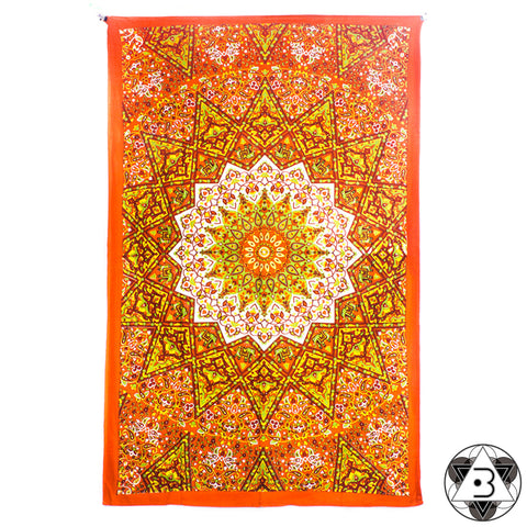 Orange and Green Kaleidoscope Mandala Throw