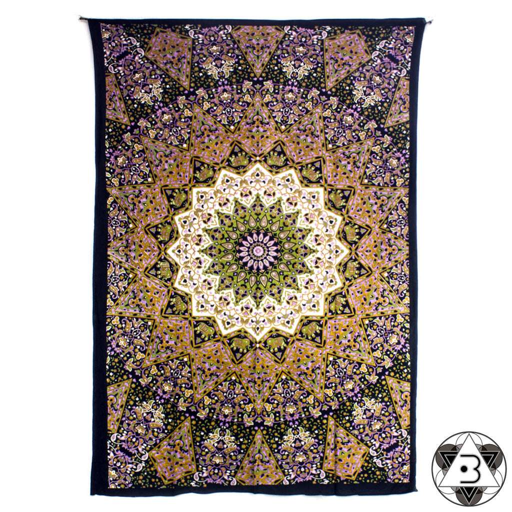 Green and Brown Kaleidoscope Mandala Throw