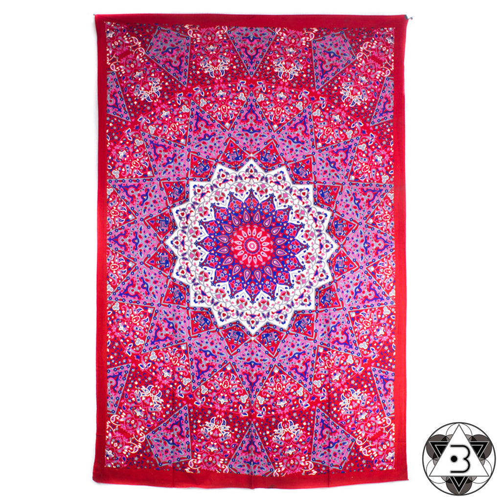 Red and Pink Kaleidoscope Mandala Throw