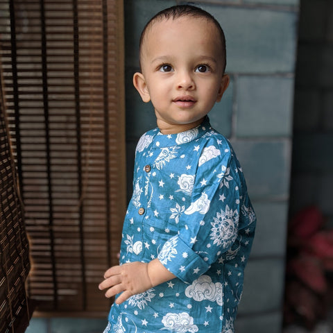 Muslin Kurta Pajama - Nayantaara -Blue (0 to 12 years)
