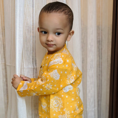 Muslin Kurta Pajama - Nayantaara - Yellow (0 to 5 years)