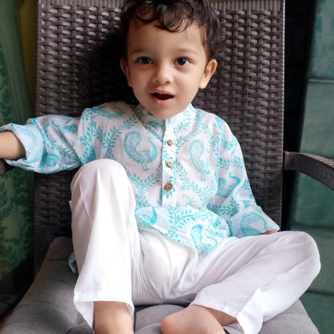 Muslin Kurta Pajama - Pyaare Panchhi - Blue (0 to 12 years)